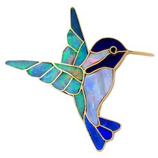 14K Yellow Gold Multiple Gemstone Inlay Hummingbird Brooch-Opex Milliron