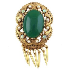 Florenza Brooch/Pendant w/Oval Green Cabochon, Seed Pearls & Czs