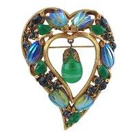 Florenza Heart Brooch Iridescent Melon & Tulip Stones Faux Jade