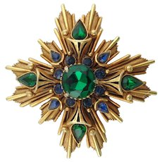 Florenza Maltese Cross Brooch with Green & Blue Rhinestones