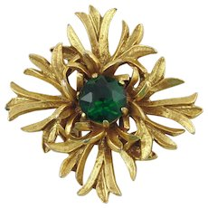 Benedict Maltese Cross Brooch/Pendant with Green Rhinestone