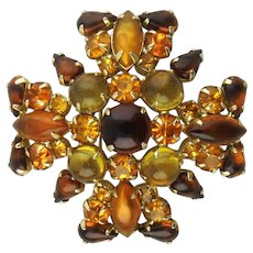 Weiss Maltese Cross Brooch with Amber & Topaz Rhinestones