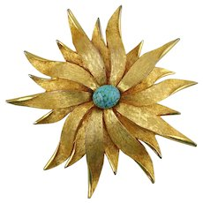 Harriet Carnegie Floral Gold Tone Pin with Faux Turquoise