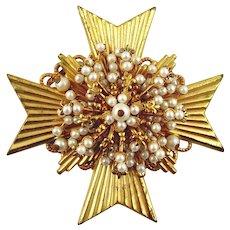 Stanley Hagler Maltese Cross  Seed Pearl Brooch
