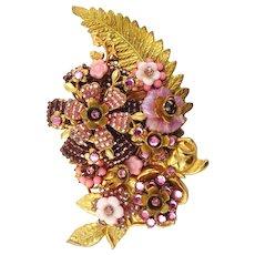 Stanley Hagler NYC/Ian St Gielar Hand Wired 3D Jeweled Pink Glass Bead Rhinestone Brooch
