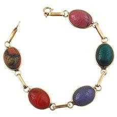 Ladie's Vintage Scarab Bracelet-14K Yellow Gold