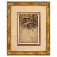 Cincinnati Market Original Etching by Hurley, Signed