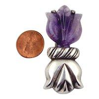 William Spratling Sterling Silver & Amethyst Tulip Brooch