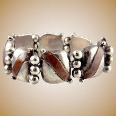 William Spratling Sterling Silver and Copper Pillow Bracelet