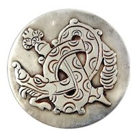 William Spratling Sterling Silver Round Pin: Quetzalcoatl (Plumed Serpent)