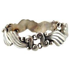Sterling Silver Scrolling Link Bracelet  by Margot de Taxco