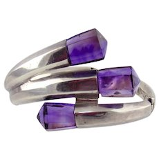 Sterling Silver &  Amethyst Free-form Cuff Bracelet- SIGI