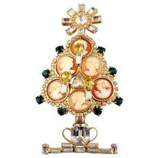 Lawrence VBRA Vintage Christmas Tree Pin w/Cameos, signed Kim