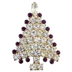 Vintage Kirk's Folly Christmas Tree Pin w/Purple & Clear Crystals