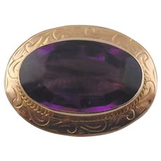 10K Late Victorian Style Lady's Brooch w/Purple Glass