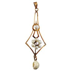 Antique 9K Natural Pearl & Diamond Lavaliere
