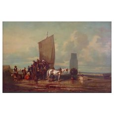 19th Century Oil Painting On the Beach