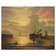 Early 20th Century Oil on Canvas-Beautiful Sunset