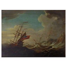 19th Century Oil Painting on Board-British Warship