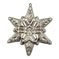 1970 Sterling Silver Snowflake Christmas Ornament by GORHAM