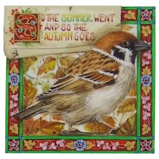 Miniature Painting by Debby Faulkner-Stevens-So the Autumn Goes