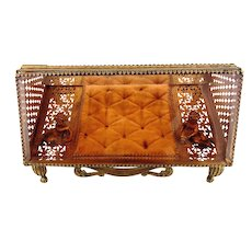 Vintage Metal  Filigree Ormolu Jewelry Casket w/Pink Bevel Glass