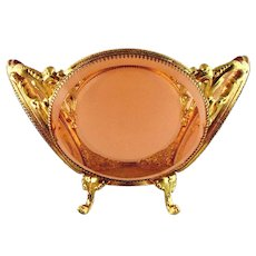 Vintage Ornate Ormolu Centerpiece Bowl w/Pink Bevel Glass