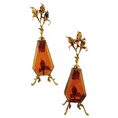 Pair of Vintage Ormolu Gold Gilded Perfume Bottles w/Amber Beveled Glass