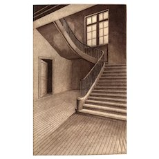 """Stairway With Silent Echoes"", Original Etching by Listed Artist, David Hunter"