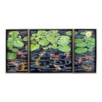 Original Oil Painting Triptych  by Lee Mims-Koi Pond Daze
