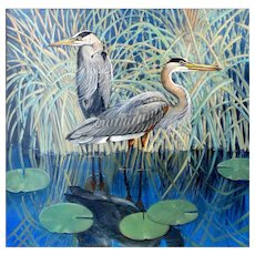 Original Oil Painting  by  Lee Mims-A Passing Breeze (Great Blue Heron)
