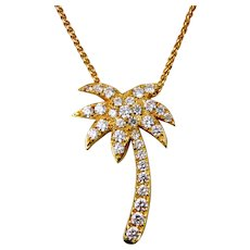 Lady's  Diamond Palm Tree Slide and Necklace-18K Yellow Gold