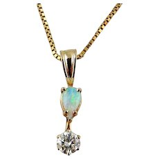 Lady's 14K Yellow Gold Diamond & Opal Pendant with Gold Necklace