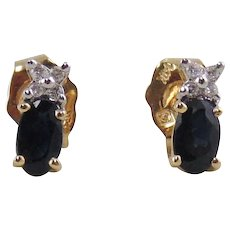 Pair of Lady's Sapphire & Diamond Earrings-14K Yellow Gold