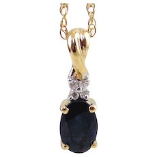 Lady's 14K Yellow Gold Sapphire & Diamond  Pendant with Gold Necklace