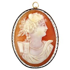 Vintage Lady's Shell Cameo Brooch, Thalia (or Thaleia)