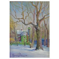 Miniature Oil Painting by Canadian Artist, James Pothier (Cote des Neiges)