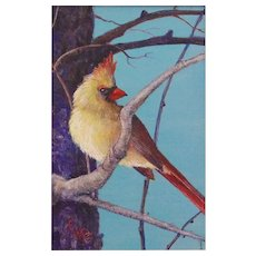 Miniature Acrylic Painting of a Cardinal by Cynthia J. Bryden