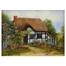 """Old English Cottage"" Miniature Oil Painting by Contemporary  UK Artist, Elizabeth A. Brown"