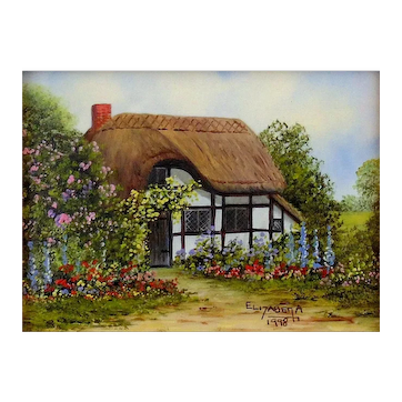 """""""Old English Cottage"""" Miniature Oil Painting by Contemporary  UK Artist, Elizabeth A. Brown"""