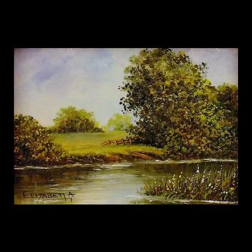 Miniature Oil Landscape Painting by UK Artist, Elizabeth A. Brown