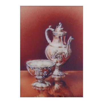 Miniature Watercolor Painting by Beverly Fotheringham-Argent Elegant II