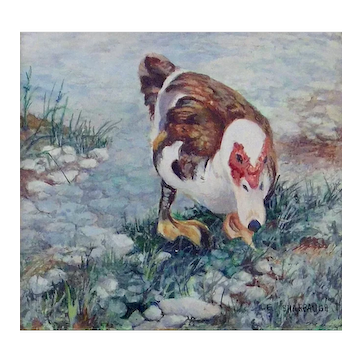 Pigeon Toed Duck, Miniature Opaque Watercolor Painting by Evelyn Sharbaugh