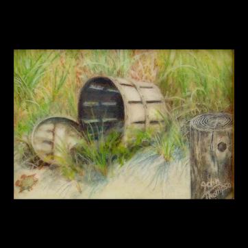 Miniature Oil on Ivorine Painting by John A. Thompson