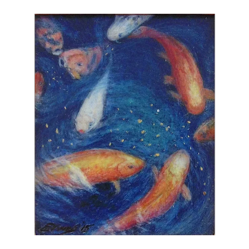 """""""Feeding Time"""", Original Miniature Acrylic Painting by New Jersey Artist, Mary Ann Evans"""