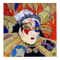 """Carnevale Mask, Venice"" Original Miniature Watercolor Painting by Lynne Rychlec"