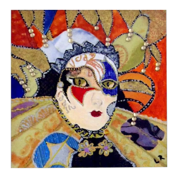 """""""Carnevale Mask, Venice"""" Original Miniature Watercolor Painting by Lynne Rychlec"""