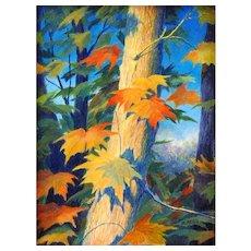 Beautiful Miniature Acrylic Painting  by Judith Edgington Bayes-Autumn Arrival