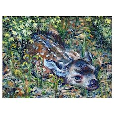 Miniature Oil Painting by Barbara Stanton-Blending In (Fawn)