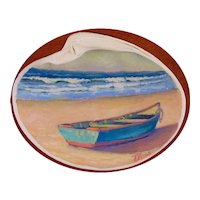 """Of the Sea"", Miniature Oil Painting on Natural Shell by Todd Voss"